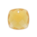 Square Faceted Pendant 10 mm Hydro Citrine x1