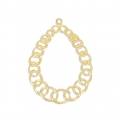 Light filigree iron drop pendants 34x25.5 mm Gold Tone x2