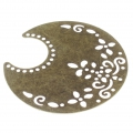 Light filigree iron moon pendants 50.5x48 mm Bronze Tone x2