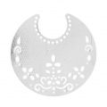 Light filigree iron moon pendants 50.5x48 mm Silver Tone x2