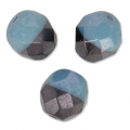 Faceted beads Duet 8 mm two-tone Black/Op Blue Lusterx20