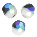 Faceted beads Duet 8 mm two-tone Opaque White/Jet Full AB x20