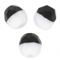 Faceted beads Duet 8 mm two-tone Black/OpaqWhite Mat x20