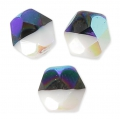Faceted beads Duet 6 mm two-tone Opaque White/Jet Full AB x25