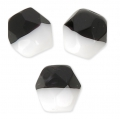 Faceted beads Duet 6 mm two-tone Black/Opaque White x25