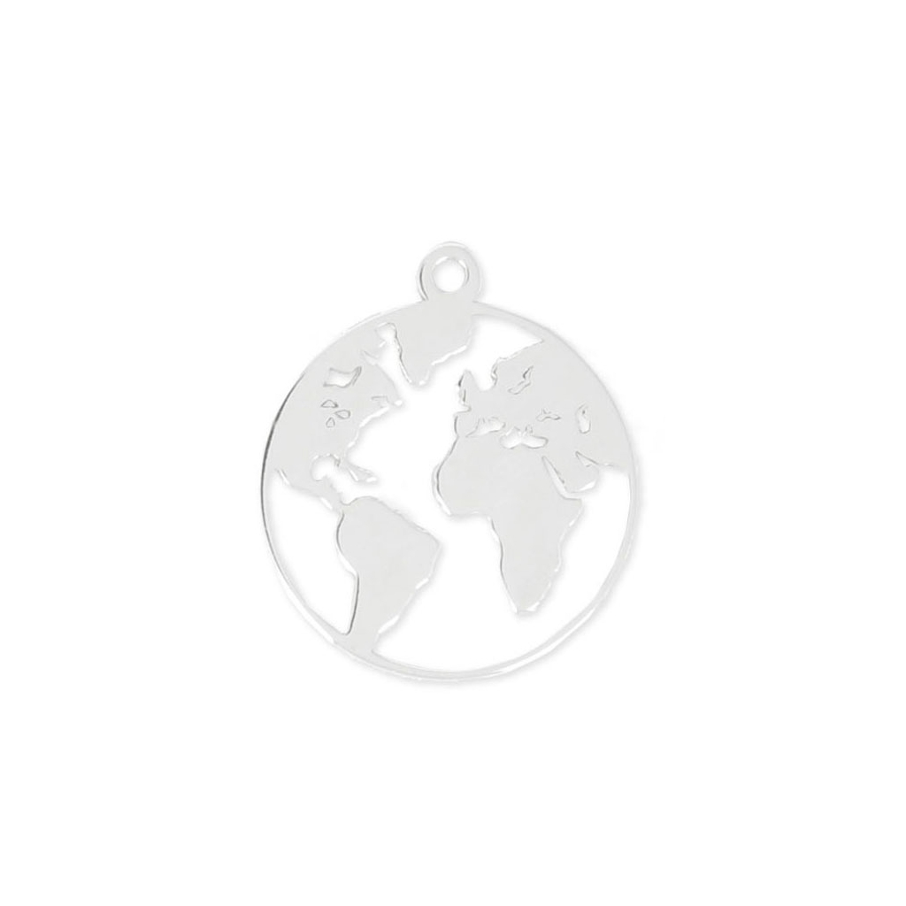 925 Sterling Silver Round World Map Charm 15 Mm X1