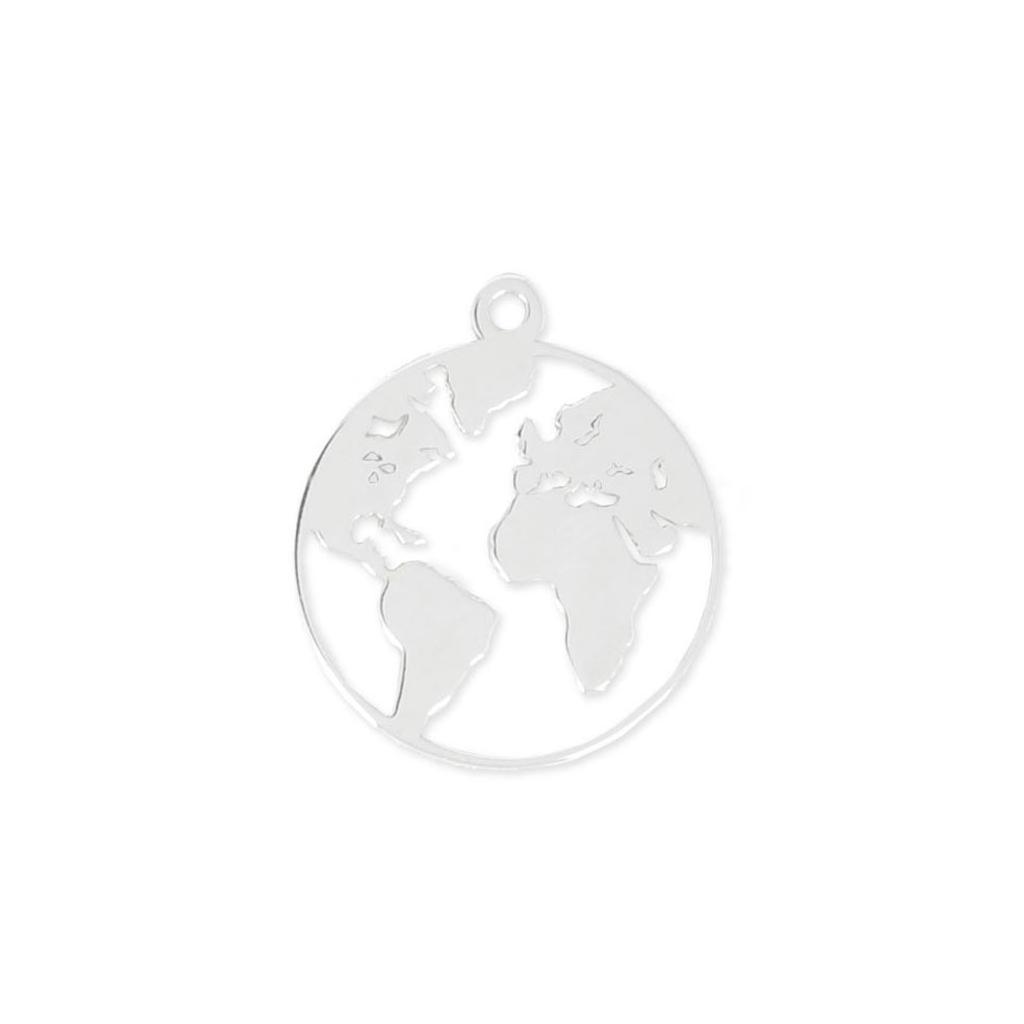 925 sterling silver round world map charm 15 mm x1 perles co 925 sterling silver round world map charm 15 mm x1 freerunsca Gallery