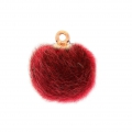 Round synthetic fur pompom with loop 17 mm - Red x1