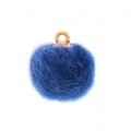 Round synthetic fur pompom with loop 17 mm - Blue x1