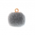 Round synthetic fur pompom with loop 17 mm - Grey x1