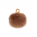 Round synthetic fur pompom with loop 17 mm - Brown x1