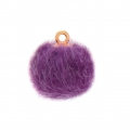Round synthetic fur pompom with loop 17 mm - Violet x1