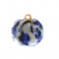 Round synthetic fur pompom with loop 17 mm - Blue/Grey Leopard x1