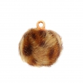 Round synthetic fur pompom with loop 17 mm - Beige/Brown Leopard x1