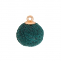 Round imitation leather pompom with loop 17 mm - Petrol/Black  x1