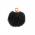 Round synthetic fur pompom with loop 17 mm - Black x1