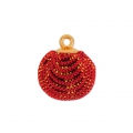 Round imitation Glitter pompom with loop 17 mm - Red x1