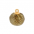 Round imitation Glitter pompom with loop 17 mm - Gold Tone x1