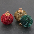 Round imitation Glitter pompom with loop 17 mm - Green/Petrol x1