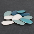 Metal epoxy resin sequins drop shape 20.5x11.4 mm Green Turquoise x 8