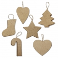 Set of 6 carboard shapes to customize between 7 and 8 cm Christmas Decoration to hang