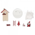 Wooden miniature decor 6x9 cm Winter House Red