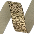 Fancy metallic ribbon 25 mm Black/Gold Tone x 1m