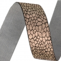 Fancy metallic ribbon 25 mm Black/Copper Tone x 1m