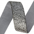 Fancy metallic ribbon 25 mm Black/Silver Tone x 1m
