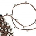 Flat beaded suede lace 3 mm Brown x 1m