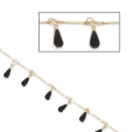 Brass chain epoxy resin drops 0.9 mm Satin Gold/Black x 50cm