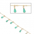 Brass chain epoxy resin drops 0.9 mm Satin Gold/Turquoise x 50cm