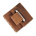 Wooden multi-strand hook and eye clasp 46x47 mm x1