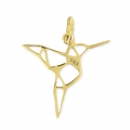 925 Sterling Silver charm origami bird 19 mm -18 carat 3-mic Gold-plated x1