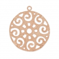 Striped brass Filigree charm 28 mm Rose Gold HQ x1