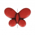 Imitation howlite butterfly shape Bead 25x35 mm Red Coral x1