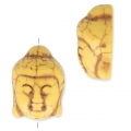 Imitation howlite Bead buddha head shape 29.5x21 mm Yellow x1