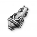 Metal cone bead  15x9 mm Old Silver tone x1