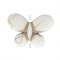 Imitation howlite butterfly shape Bead 25x35 mm Bone Tone x1