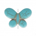 Imitation howlite butterfly shape Bead 25x35 mm Turquoise x1
