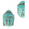 Imitation howlite Bead buddha head shape 29.5x21 mm Turquoisex1