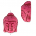 Imitation howlite Bead buddha head shape 29.5x21 mm Pink x1