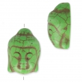 Imitation howlite Bead buddha head shape 29.5x21 mm Olive x1