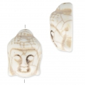 Imitation howlite Bead buddha head shape 29.5x21 mm Bone Tone x1