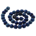 Druse Agate Round bead 8 mm Dark Blue x10