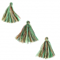 Imitation cotton tassels 26-30 mm Multicolored Green x10