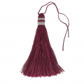Large tassel 90 mm for decoration or jewels Bordeaux/Silver