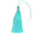 Large tassel 90 mm for decoration or jewels Aqua/Silver