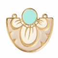 Spacer/Pendant 2 loops with epoxy resin flower 35x31 mm Gold Taupe/White/Turquoise x1