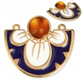 Spacer/Pendant 2 loops with epoxy resin flower 35x31 mm Gold/Blue/Orange